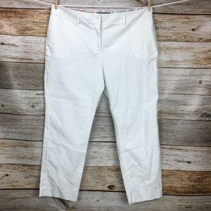 Vineyard Vine Solid White Flat Front Crop Pants 16